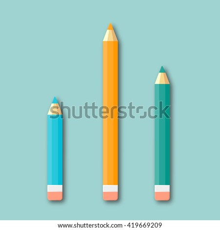 Colour pencils isolated top view vector illustration. Material flat design of drawing pencils as seen from above.