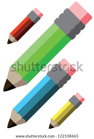 Colour Pencils, red, green, blue and yellow with rubber