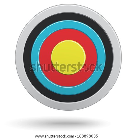 Colour round darts target aim isolated on white background. Vector illustration. - stock vector