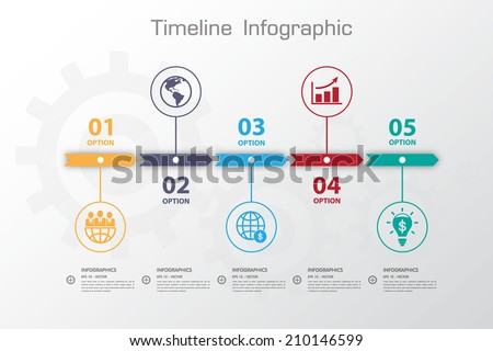 Colour StepDesign clean number timeline template/graphic or website - stock vector