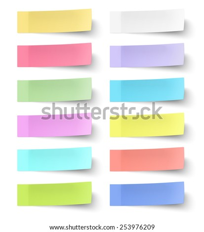 Colour sticky notes isolated on white background - stock vector