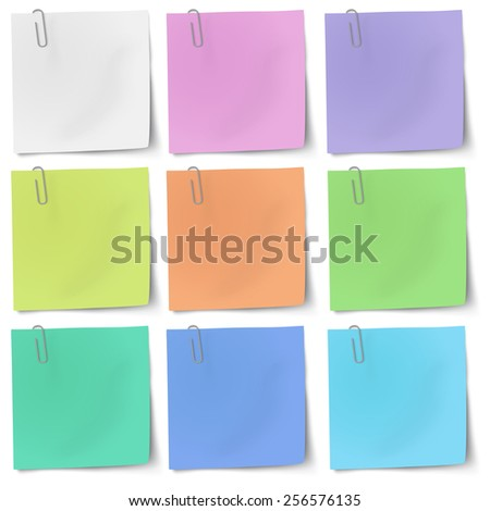 Colour sticky notes with metallic paper clip isolated - stock vector