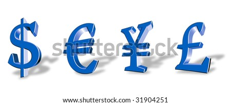 Colour vector symbols of the main world currencies - stock vector