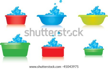 Coloured basins for manual washing for packing of detergent powders. - stock vector