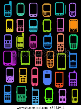 Coloured Cellphones and Smartphones in black background - stock vector