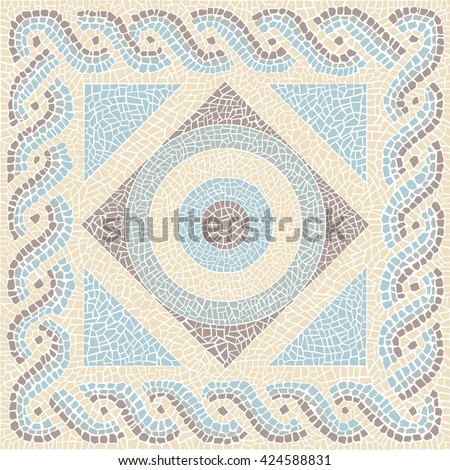 Coloured mosaic antique style vector background - stock vector