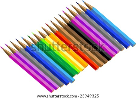 Coloured pencil on white - stock vector