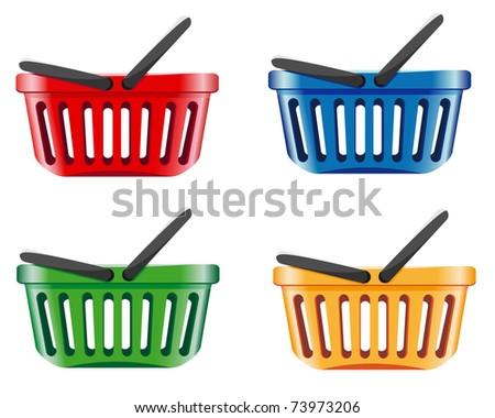 coloured shopping basket vector illustration - stock vector