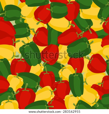 Coloured sweet pepper pattern. Seamless background with ripe peppers. Vector texture - stock vector