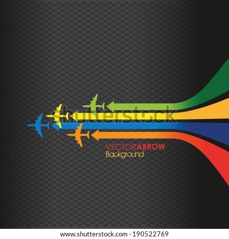 colourful arrow and plane line background - stock vector
