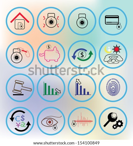 Colourful banking icon. Can be used for internet banking, Mobile device and application. - stock vector