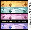 Colourful banners at a tourist theme - stock vector