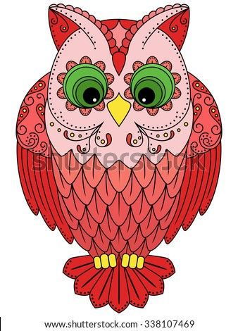 Colourful big red owl, ornamental vector illustration with ethnic motifs isolated on a white background - stock vector
