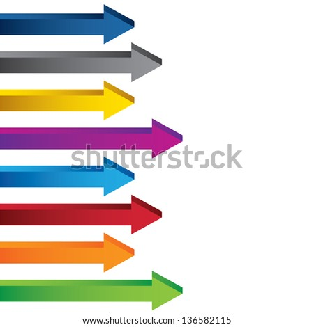 Colourful blank 3D chart arrows collection. This image is a vector illustration.