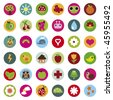 colourful collection of nature icons in vector - stock vector