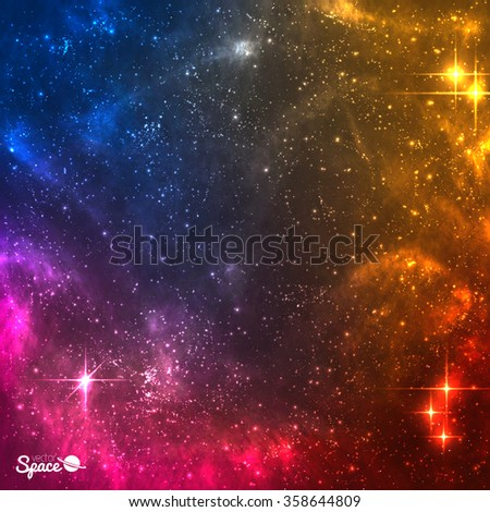 Colourful Cosmic background with nebula and bright stars.Vector illustration. - stock vector