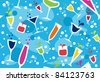 Colourful cups wallpaper on light blue background. - stock vector