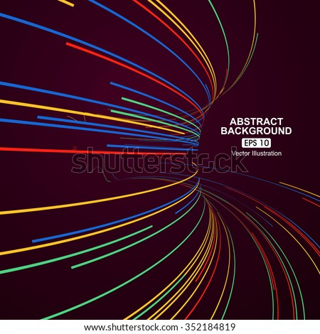 Colourful curve composition have a sense of perspective background. - stock vector