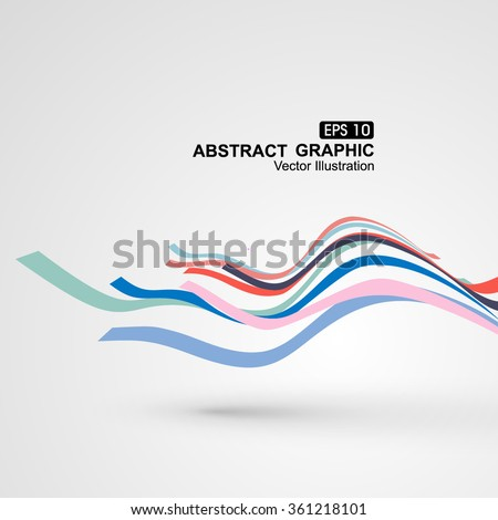 Colourful curve composition have a sense of perspective graphic. - stock vector