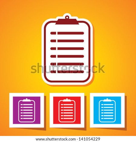 Colourful editable icon of medical record clipboard - stock vector
