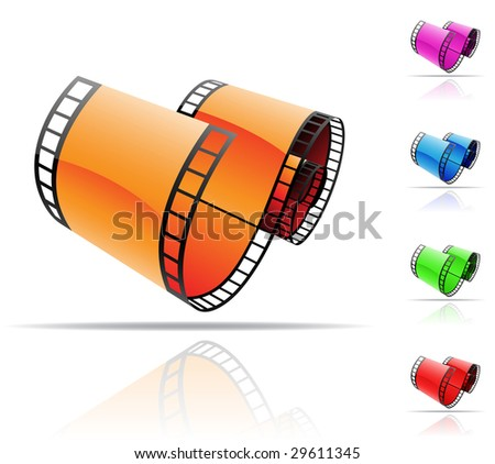 colourful film reels and reflections on white - stock vector
