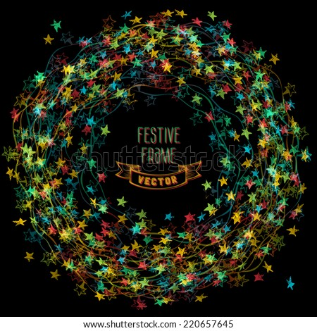 Colourful frame of Christmas lights. There is place for your text in the center. - stock vector