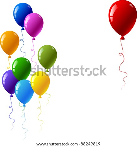 Colourful glossy balloons. Red, yellow, blue, violet, green, orange, purple - stock vector