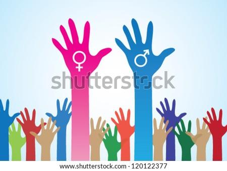 Colourful Hands Male Female Symbol Love Stock Vector 120122377