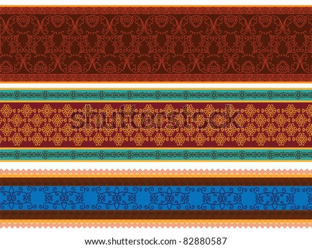 Colourful Henna Banners/ borders Indian henna art inspired  -very detailed and easily editable - stock vector
