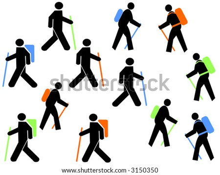 colourful hikers with walking poles and backpacks - stock vector