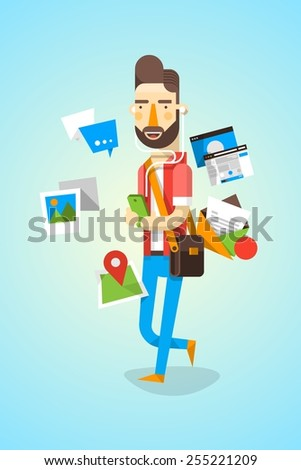 colourful hipster character with communication elements - stock vector