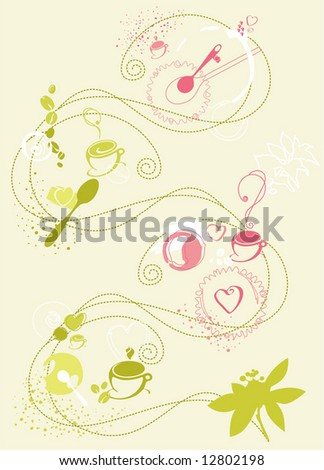 Colourful  Illustration of Coffee Cups, Spoons, Coffee leaves, Beans and other nice graphic