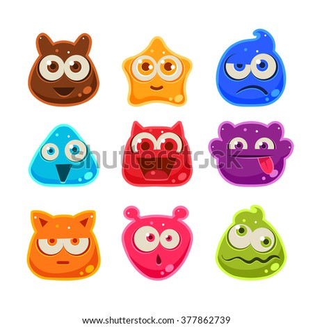 Colourful Jelly Characters with Emotions. Cute Vector Illustration