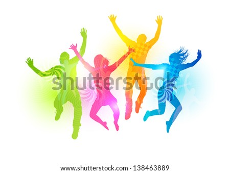 Colourful Jumping People. Healthly young people vector illustration - stock vector