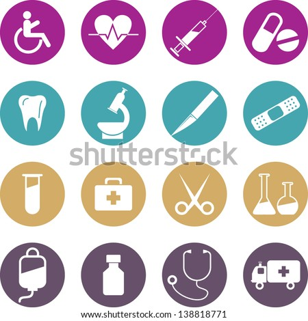 Colourful Medical icons set. Vector Illustration, eps 10 - stock vector