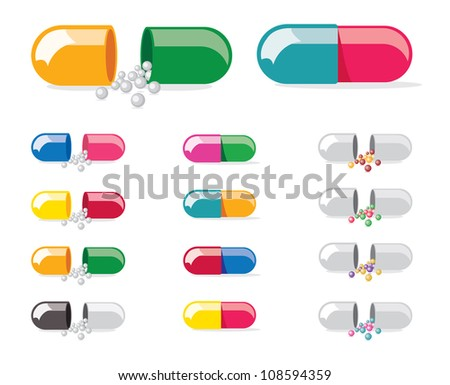 Colourful Medical Pill Illustration Isolated on White With Variants - 1 - stock vector