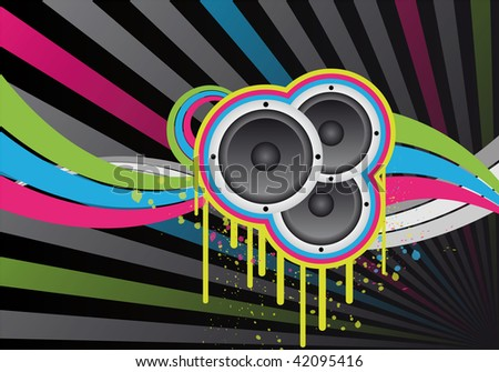 colourful music design with loudspeakers