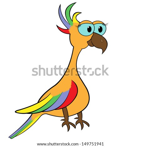 Colourful parrot isolated on white background. Hand drawing cartoon vector illustration - stock vector