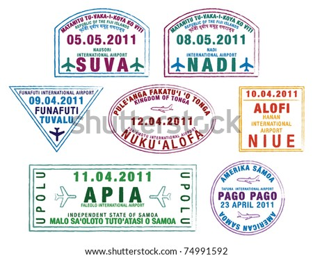 Colourful passport stamps from the Pacific Islands in Vector Format. - stock vector