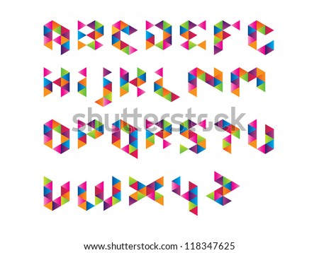 Colourful Prism Font - stock vector