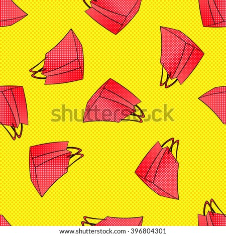 Colourful red pink shopping bags seamless pattern. black friday, seasonal spring summer winter autumn sale. Discount time in mall, retail store. Fashion days. Retro yellow halftone dots background - stock vector
