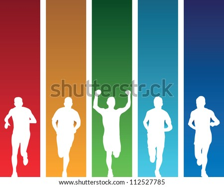 colourful runners - stock vector