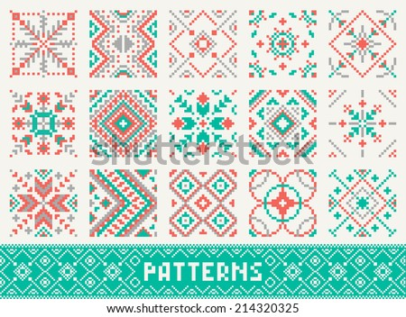 colourful seamless pattern set - stock vector