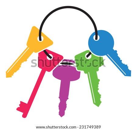 colourful set of keys - stock vector