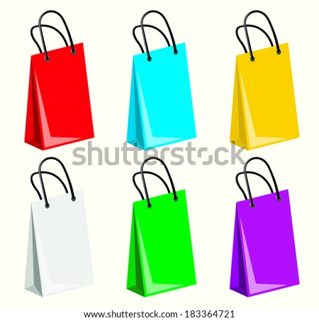 Colourful shopping paper bags
