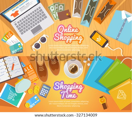 Colourful shopping vector flat banners set  for your business, web sites etc. Quality design illustrations, elements and concept. Online shopping. Buy online. Delivery. - stock vector