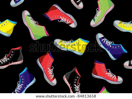 Colourful sneakers on black background. Vector available - stock vector