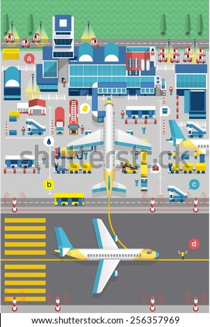 colourful vector background with airport - stock vector
