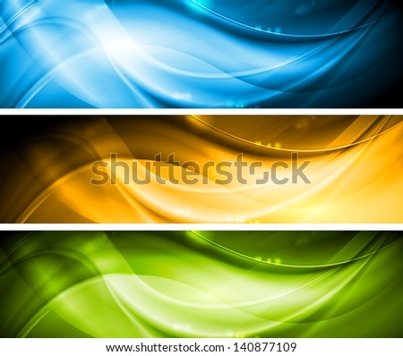 Colourful wavy banners collection. Vector template eps 10 - stock vector