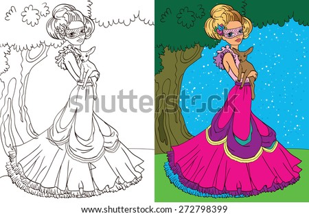 Colouring book.Beautiful princess with a deer in the forest - stock vector